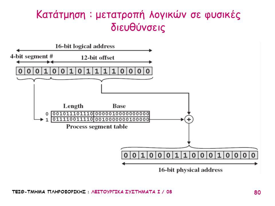 Κατάτμηση : μετατροπή λογικών σε φυσικές διευθύνσεις