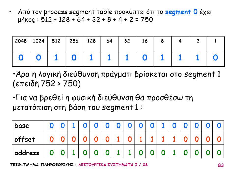 Από τον process segment table προκύπτει ότι το segment 0 έχει μήκος : 512 + 128 + 64 + 32 + 8 + 4 + 2 = 750
