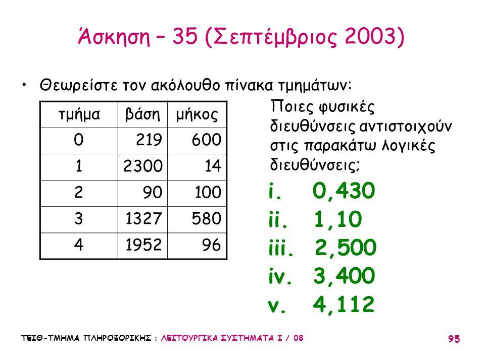 Άσκηση – 35 (Σεπτέμβριος 2003)