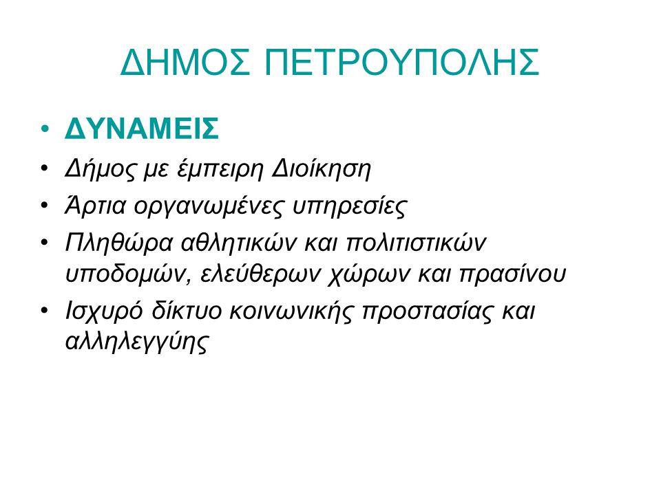 ΔΗΜΟΣ ΠΕΤΡΟΥΠΟΛΗΣ ΔΥΝΑΜΕΙΣ Δήμος με έμπειρη Διοίκηση