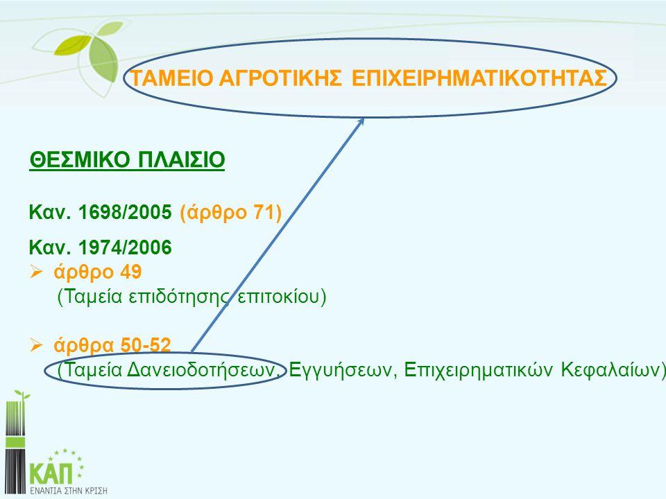 ΘΕΣΜΙΚΟ ΠΛΑΙΣΙΟ Καν. 1698/2005 (άρθρο 71) Καν. 1974/2006 άρθρο 49