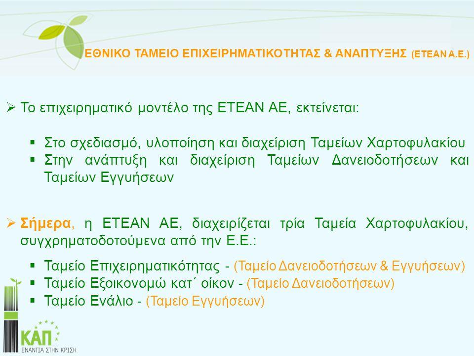 Το επιχειρηματικό μοντέλο της ΕΤΕΑΝ ΑΕ, εκτείνεται: