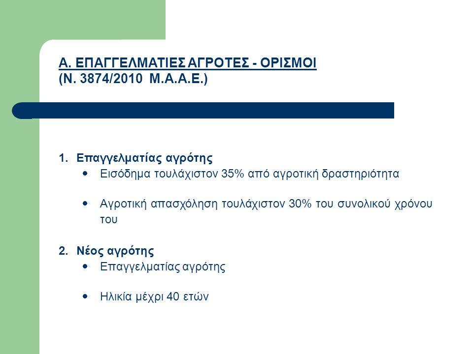 Α. ΕΠΑΓΓΕΛΜΑΤΙΕΣ ΑΓΡΟΤΕΣ - ΟΡΙΣΜΟΙ (Ν. 3874/2010 Μ.Α.Α.Ε.)