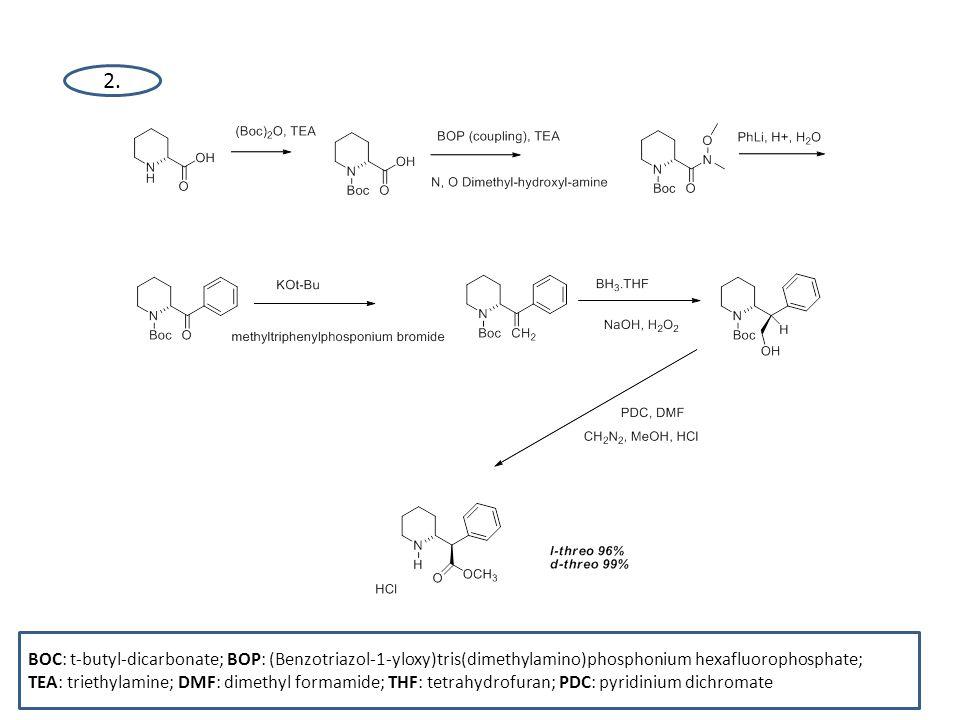 2. BOC: t-butyl-dicarbonate; BOP: (Benzotriazol-1-yloxy)tris(dimethylamino)phosphonium hexafluorophosphate;