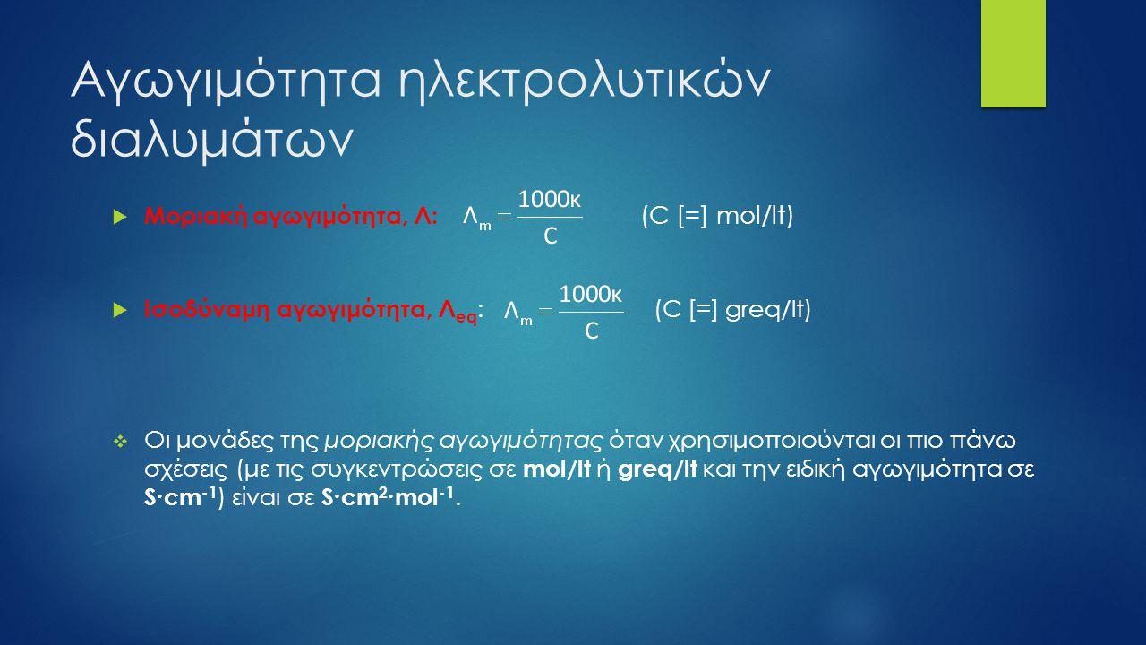 Αγωγιμότητα ηλεκτρολυτικών διαλυμάτων