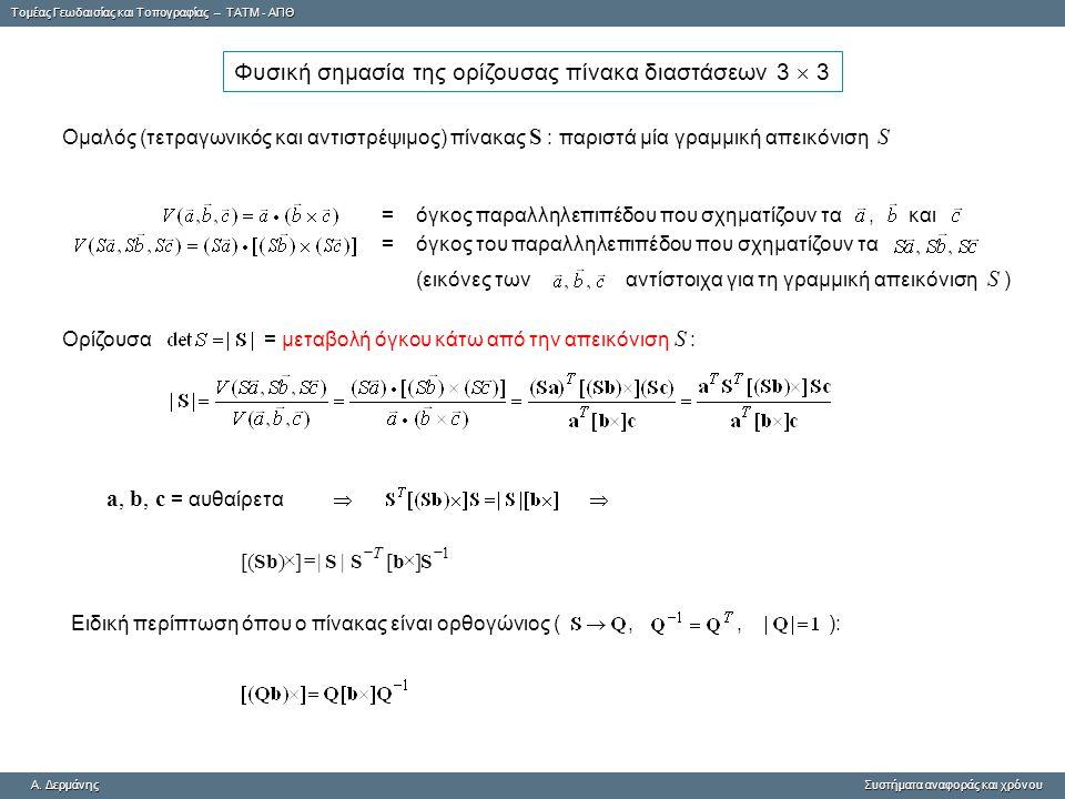 Φυσική σημασία της ορίζουσας πίνακα διαστάσεων 3  3
