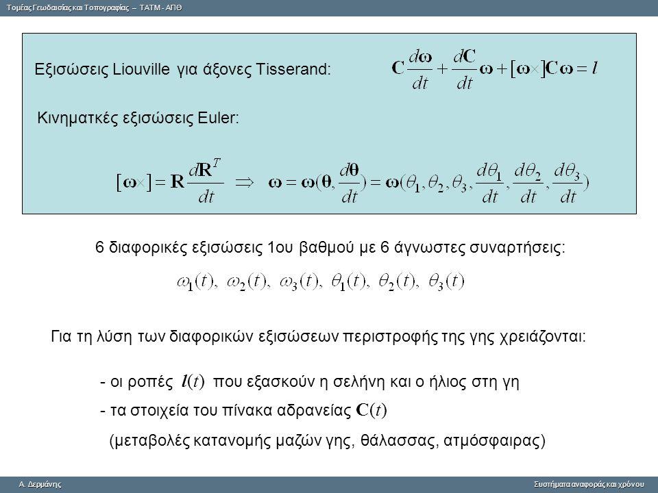 Εξισώσεις Liouville για άξονες Τisserand:
