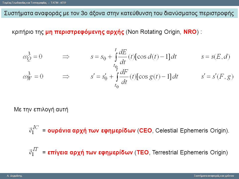 Συστήματα αναφοράς με τον 3ο άξονα στην κατεύθυνση του διανύσματος περιστροφής