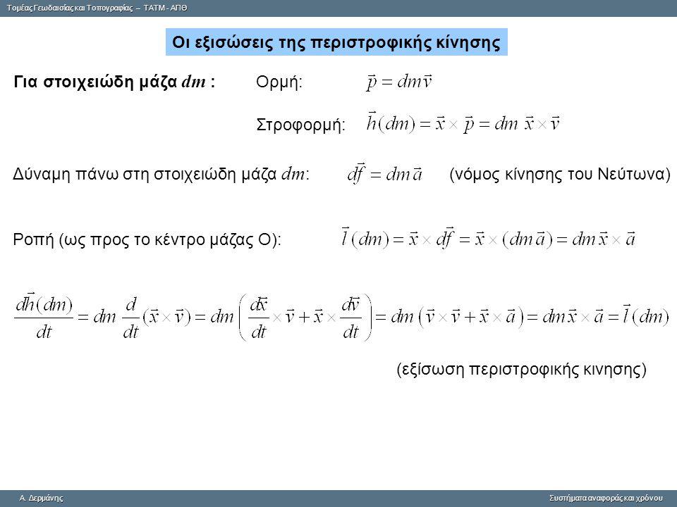 Οι εξισώσεις της περιστροφικής κίνησης Για στοιχειώδη μάζα dm :