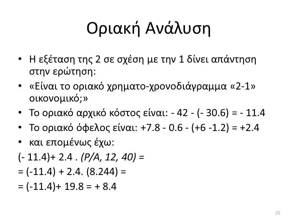 Οριακή Ανάλυση Η εξέταση της 2 σε σχέση με την 1 δίνει απάντηση στην ερώτηση: «Είναι το οριακό χρηματο-χρονοδιάγραμμα «2-1» οικονομικό;»