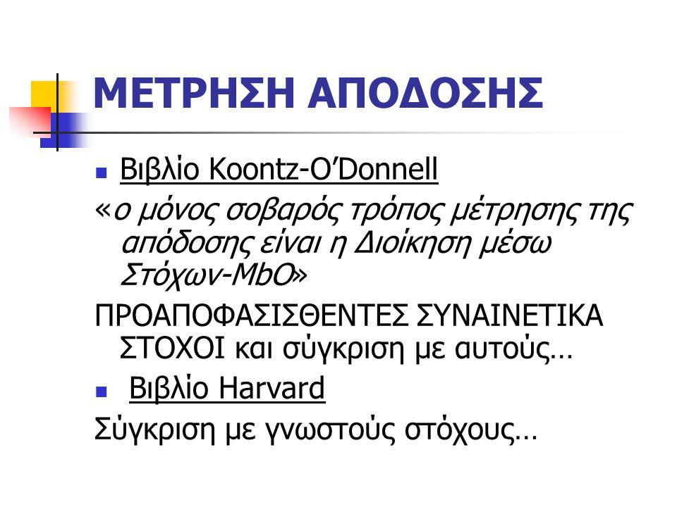 ΜΕΤΡΗΣΗ ΑΠΟΔΟΣΗΣ Βιβλίο Koontz-O'Donnell