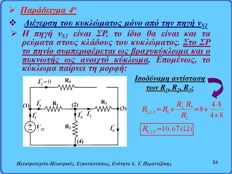 Διέγερση του κυκλώματος μόνο από την πηγή vS1