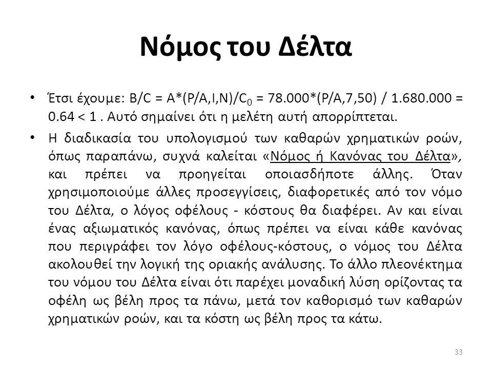 Νόμος του Δέλτα Έτσι έχουμε: B/C = A*(P/A,I,N)/C0 = 78.000*(P/A,7,50) / 1.680.000 = 0.64 < 1 . Αυτό σημαίνει ότι η μελέτη αυτή απορρίπτεται.