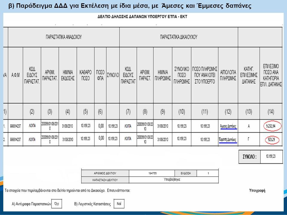 β) Παράδειγμα ΔΔΔ για Εκτέλεση με ίδια μέσα, με Άμεσες και Έμμεσες δαπάνες