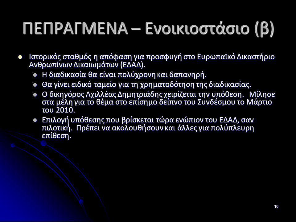 ΠΕΠΡΑΓΜΕΝΑ – Ενοικιοστάσιο (β)