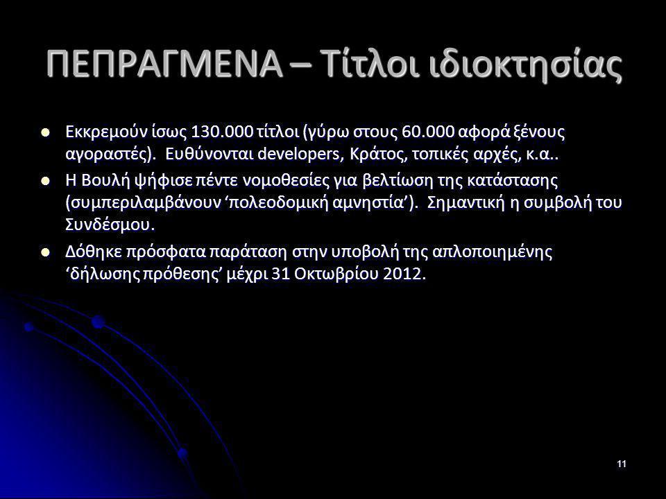 ΠΕΠΡΑΓΜΕΝΑ – Τίτλοι ιδιοκτησίας