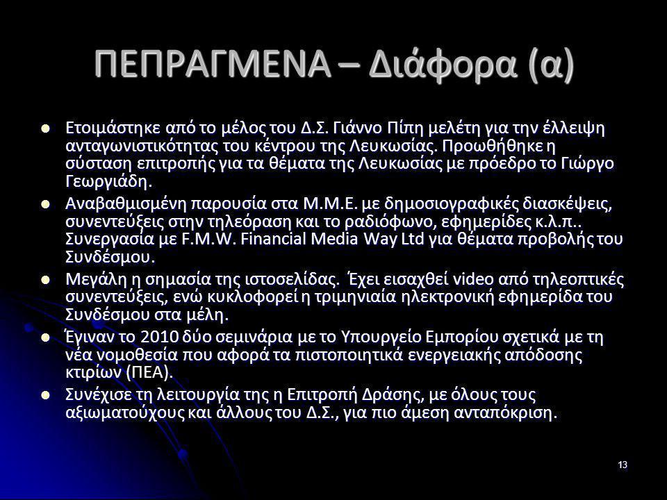 ΠΕΠΡΑΓΜΕΝΑ – Διάφορα (α)