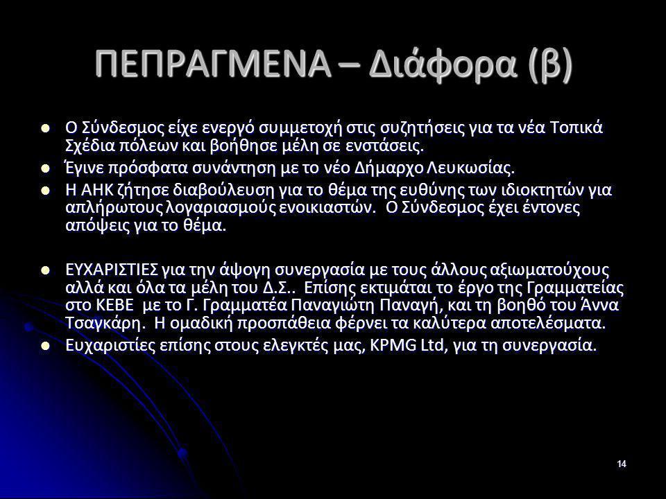 ΠΕΠΡΑΓΜΕΝΑ – Διάφορα (β)