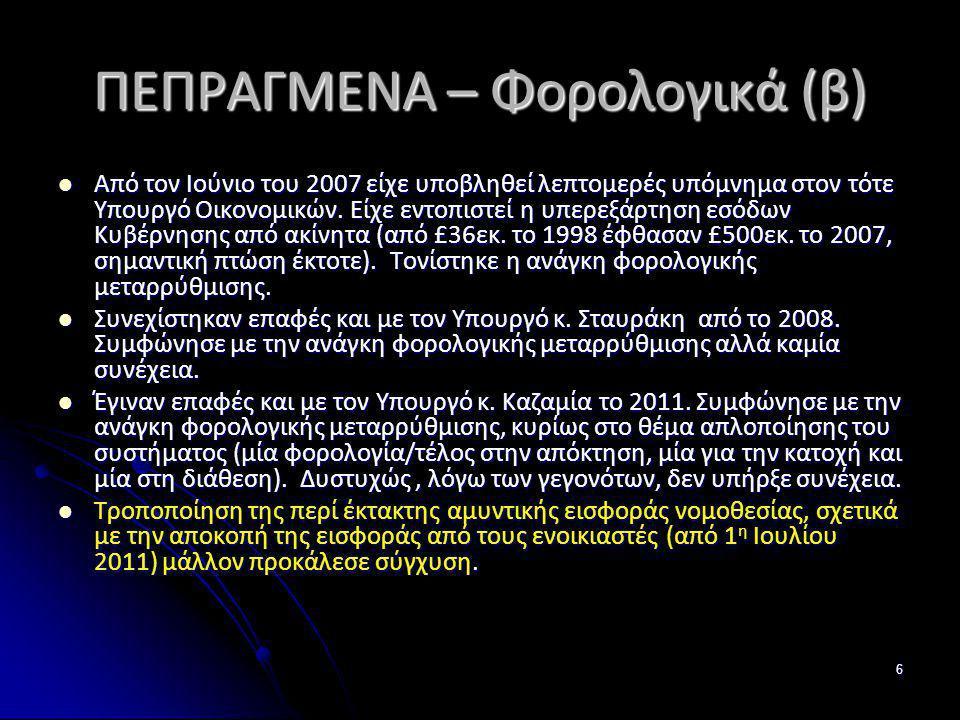 ΠΕΠΡΑΓΜΕΝΑ – Φορολογικά (β)