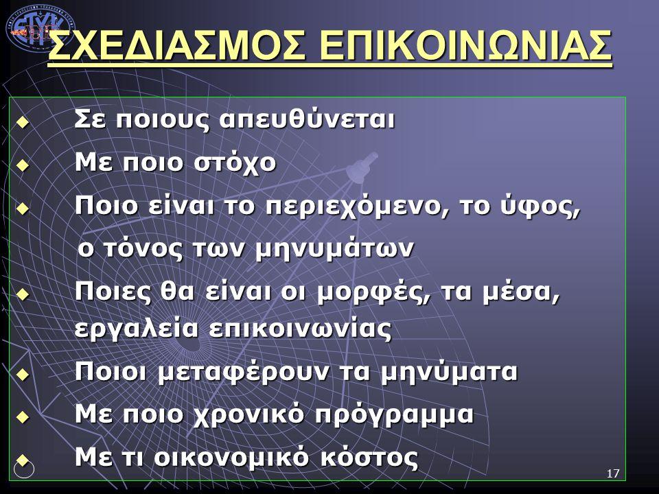 ΣΧΕΔΙΑΣΜΟΣ ΕΠΙΚΟΙΝΩΝΙΑΣ
