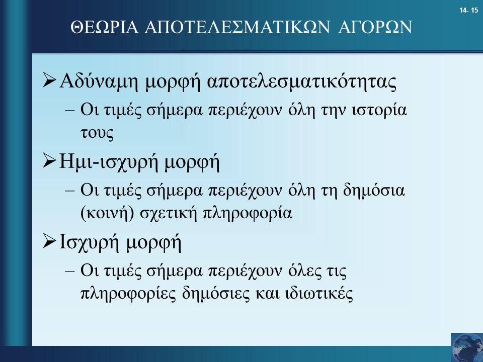 ΘΕΩΡΙΑ ΑΠΟΤΕΛΕΣΜΑΤΙΚΩΝ ΑΓΟΡΩΝ