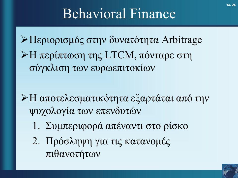 Behavioral Finance Περιορισμός στην δυνατότητα Arbitrage