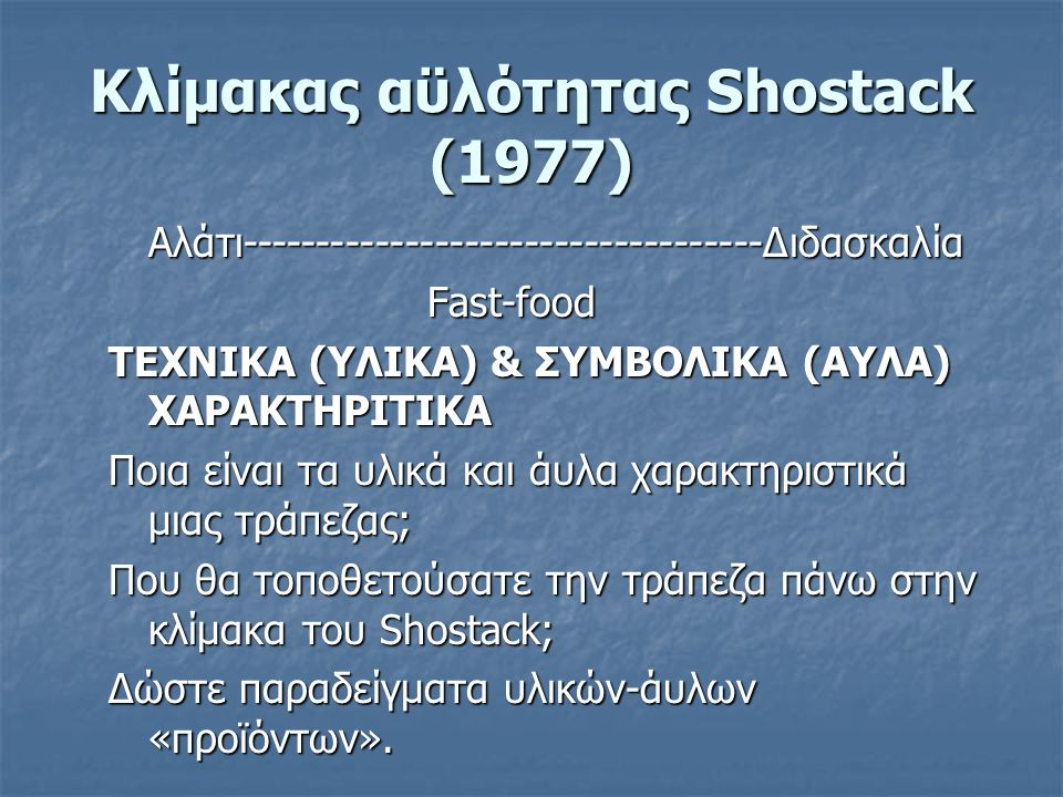 Κλίμακας αϋλότητας Shostack (1977)
