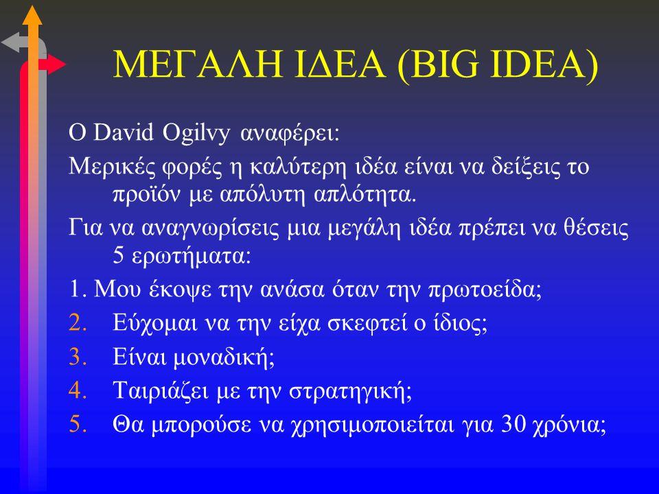 ΜΕΓΑΛΗ ΙΔΕΑ (BIG IDEA) O David Ogilvy αναφέρει: