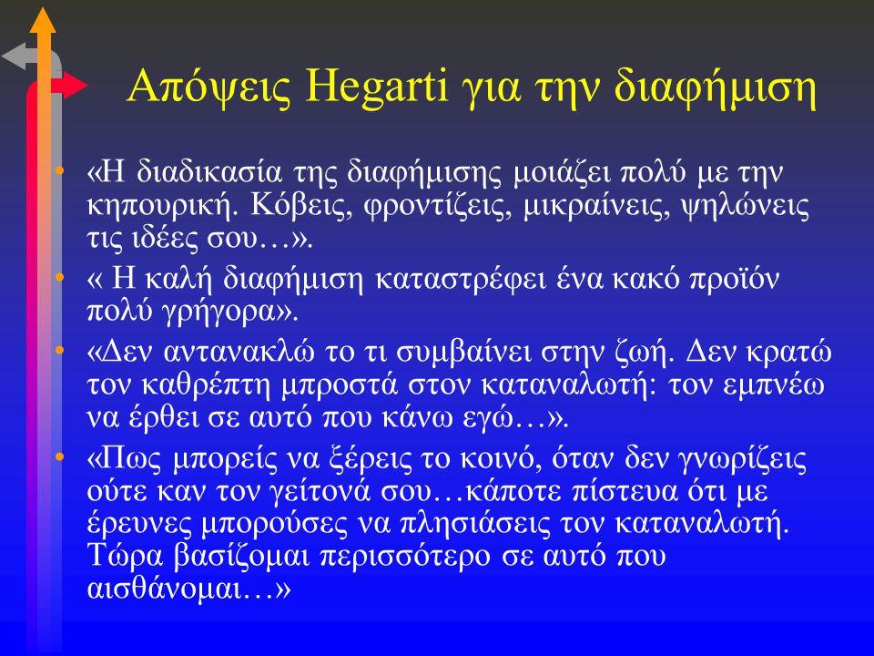 Απόψεις Hegarti για την διαφήμιση