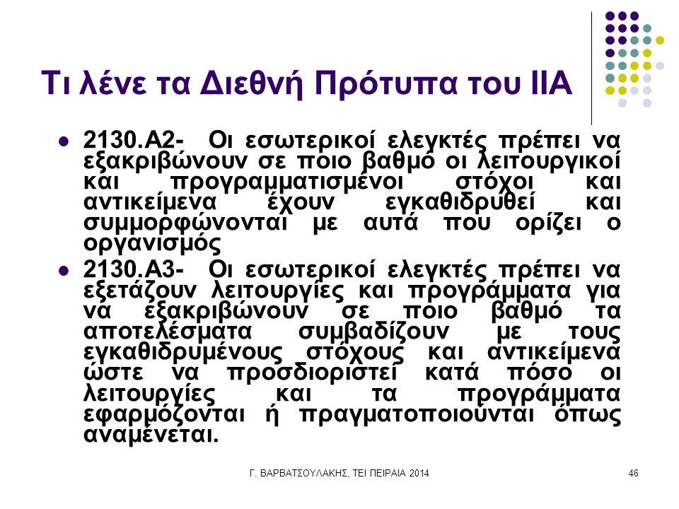 Τι λένε τα Διεθνή Πρότυπα του IIA