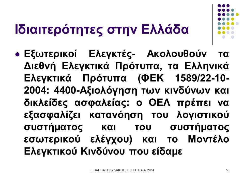 Ιδιαιτερότητες στην Ελλάδα