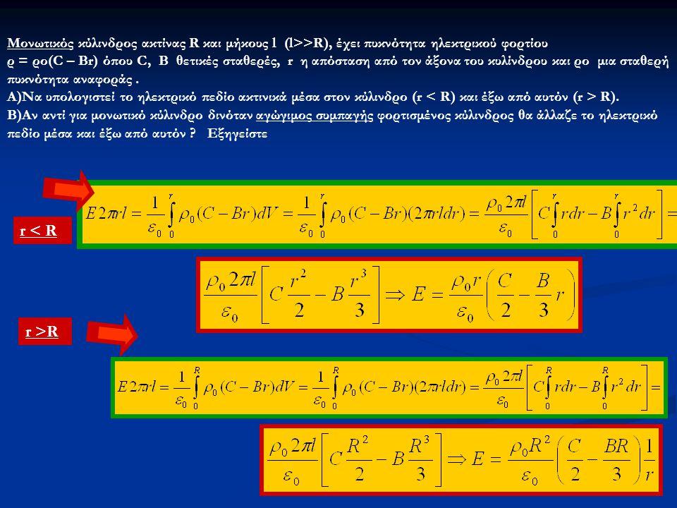 Μονωτικός κύλινδρος ακτίνας R και μήκους l (l>>R), έχει πυκνότητα ηλεκτρικού φορτίου