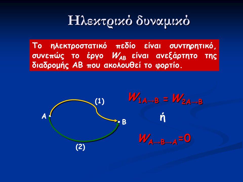 Ηλεκτρικό δυναμικό W1A→B W2A→B = ή WA→B→A=0
