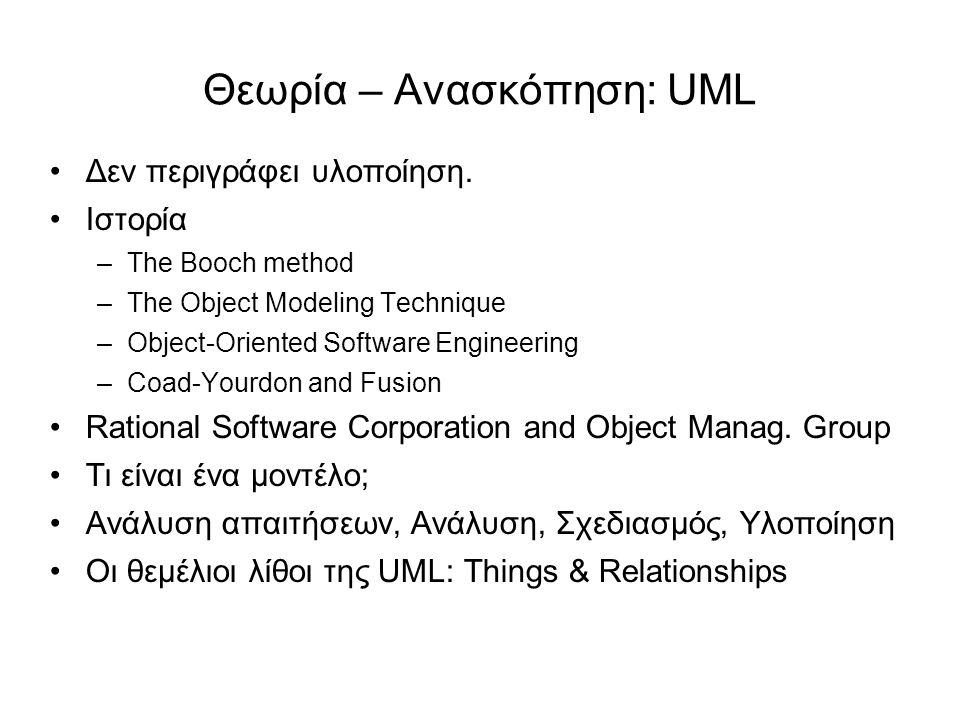 Θεωρία – Ανασκόπηση: UML