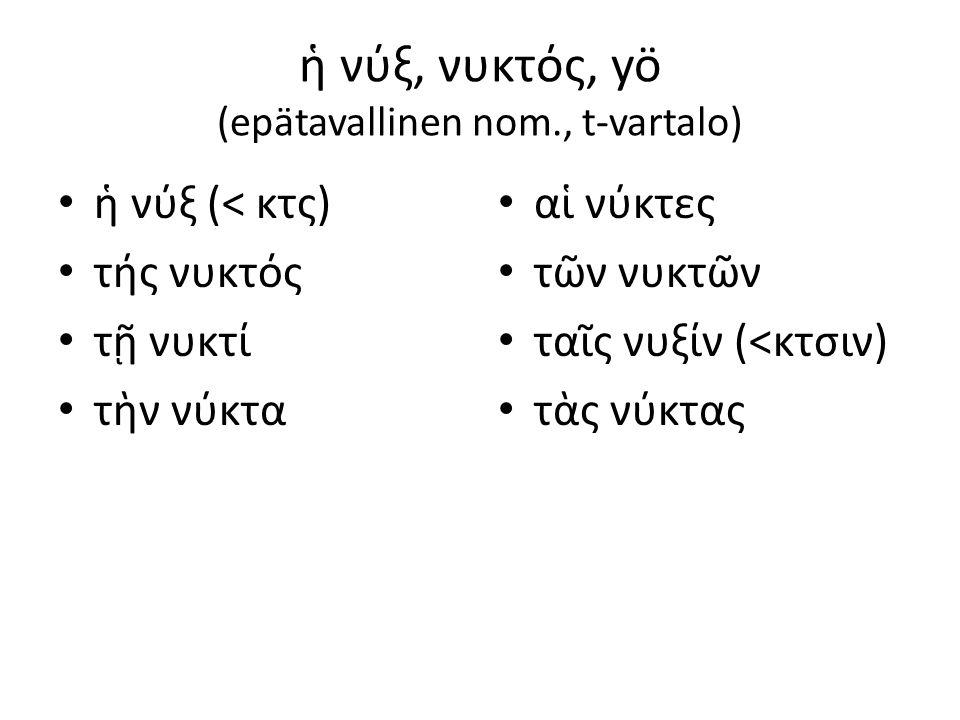 ἡ νύξ, νυκτός, yö (epätavallinen nom., t-vartalo)