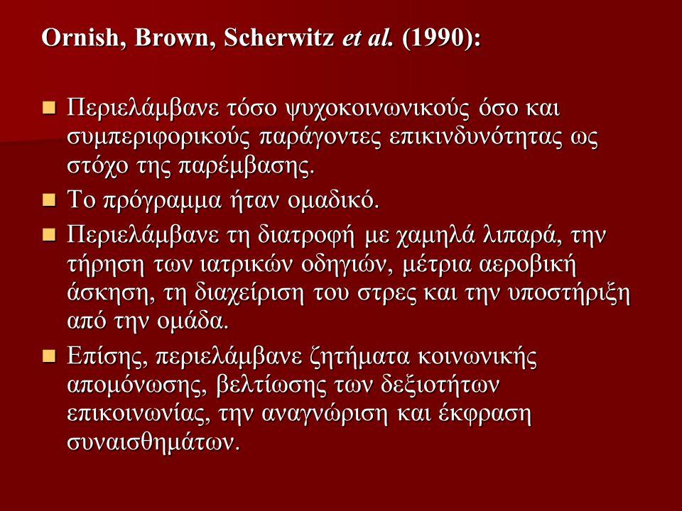 Ornish, Brown, Scherwitz et al. (1990):