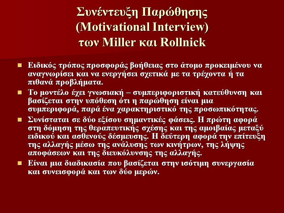 Συνέντευξη Παρώθησης (Motivational Interview) των Miller και Rollnick