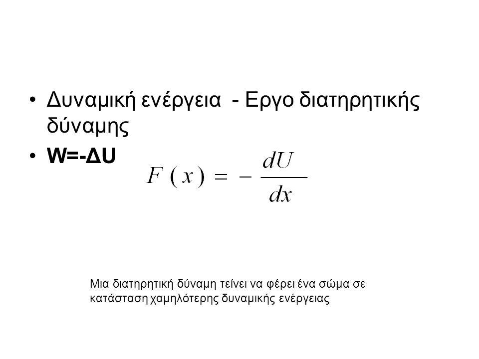 Δυναμική ενέργεια - Εργο διατηρητικής δύναμης W=-ΔU