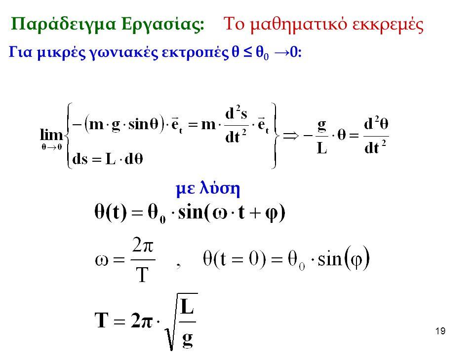 Παράδειγμα Εργασίας: Το μαθηματικό εκκρεμές