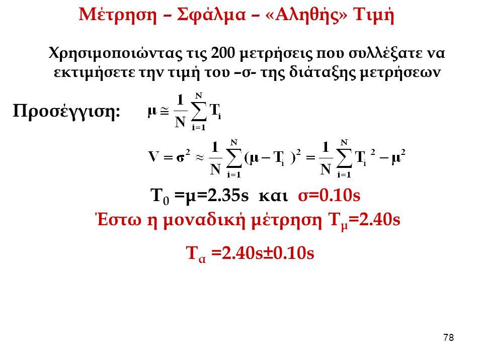Μέτρηση – Σφάλμα – «Αληθής» Τιμή Έστω η μοναδική μέτρηση Τμ=2.40s