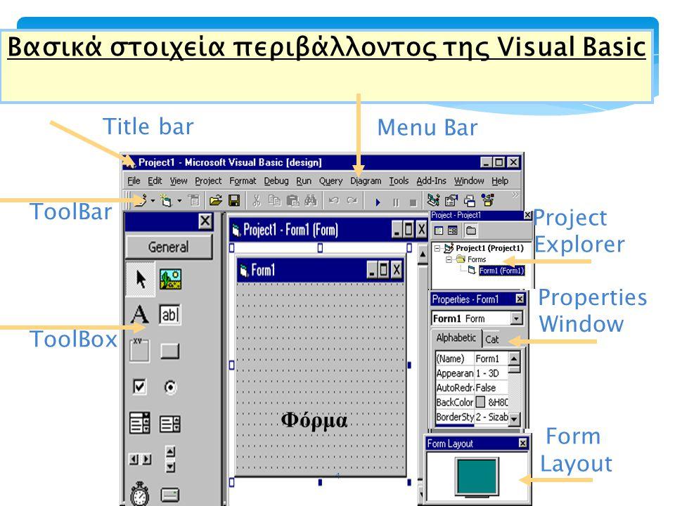 Βασικά στοιχεία περιβάλλοντος της Visual Basic