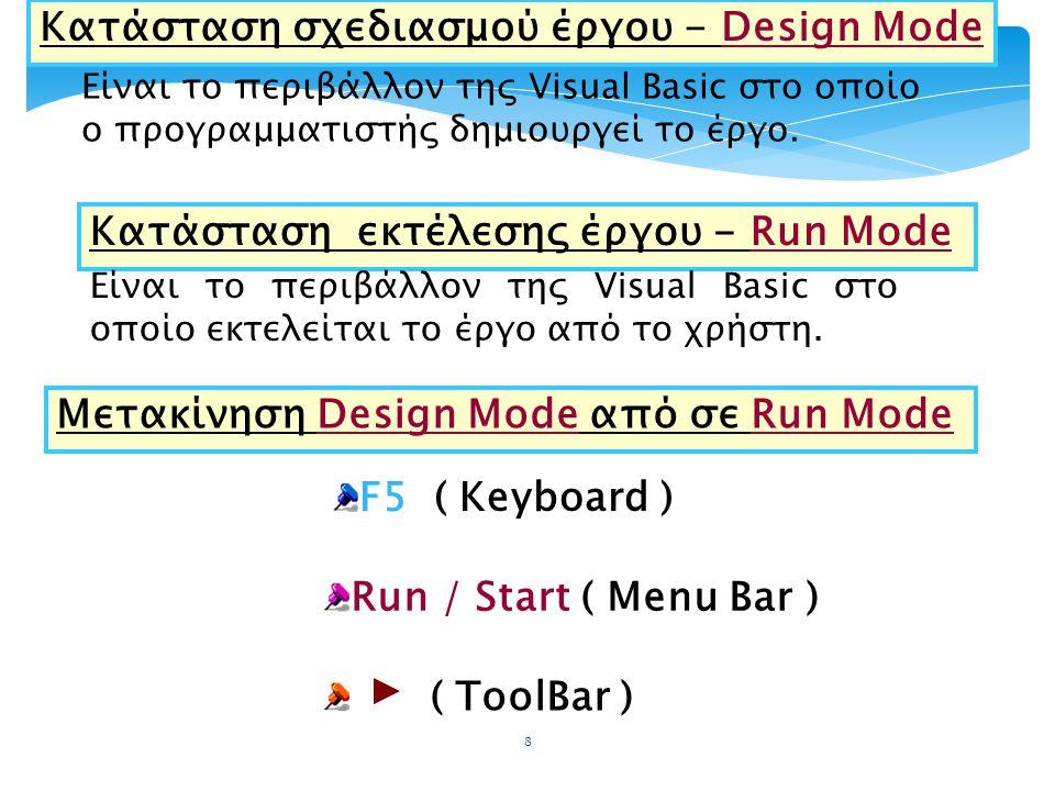 Κατάσταση σχεδιασμού έργου - Design Mode