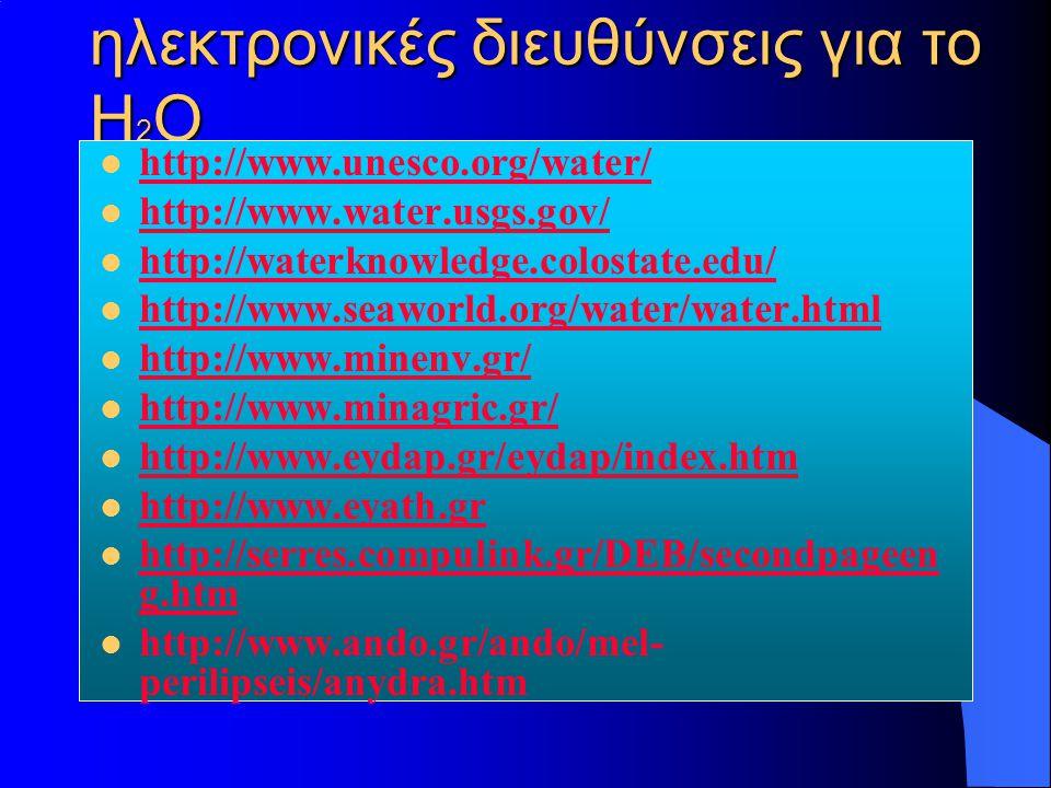 ηλεκτρονικές διευθύνσεις για το Η2Ο
