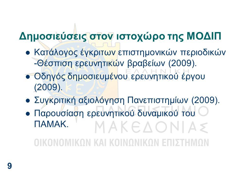 Δημοσιεύσεις στον ιστοχώρο της ΜΟΔΙΠ