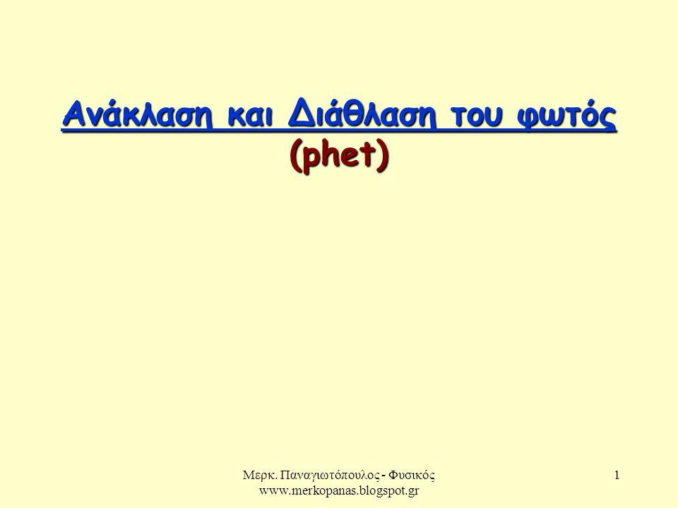 Ανάκλαση και Διάθλαση του φωτός (phet)