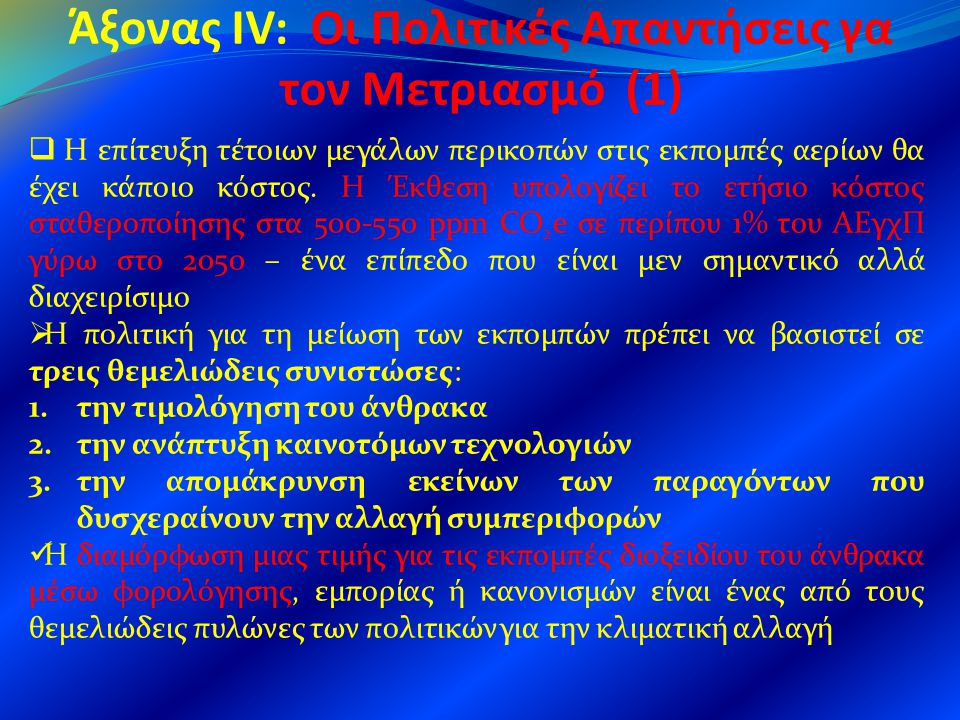 Άξονας IV: Οι Πολιτικές Απαντήσεις γα τον Μετριασμό (1)