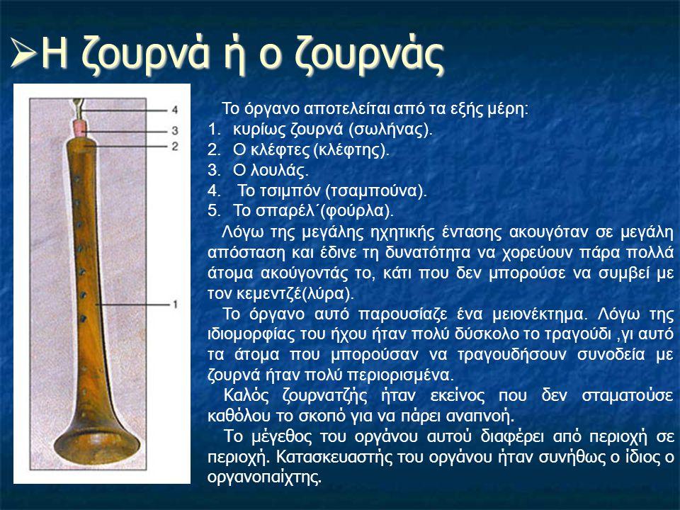 Η ζουρνά ή ο ζουρνάς Το όργανο αποτελείται από τα εξής μέρη:
