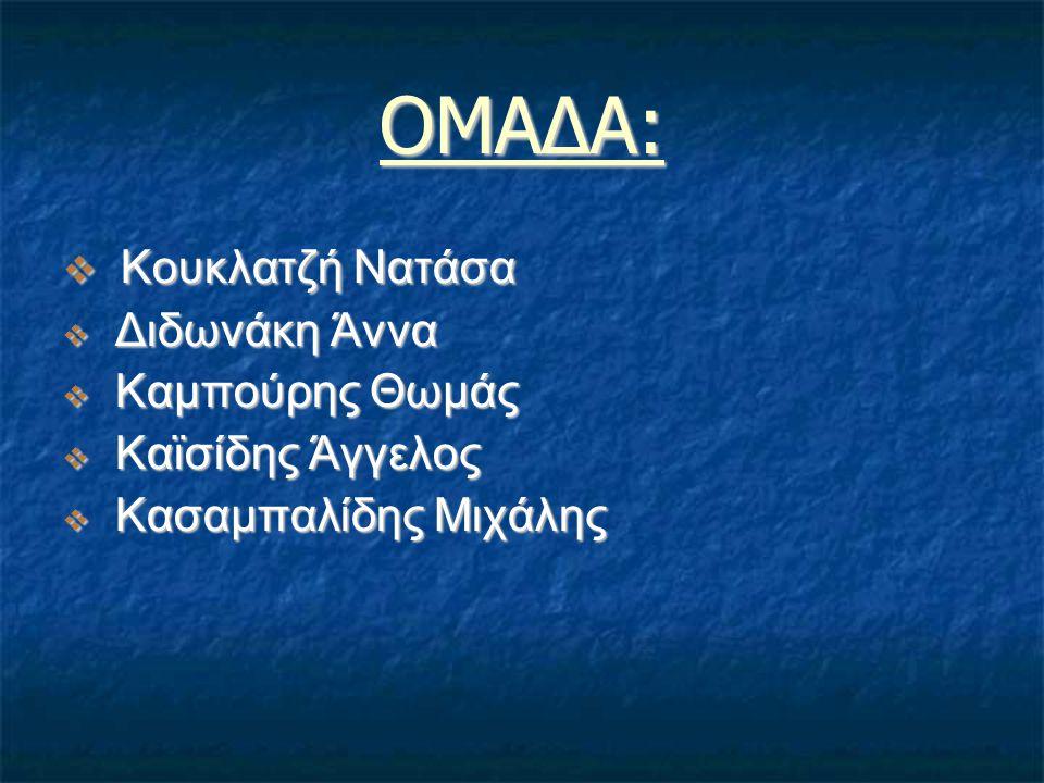 ΟΜΑΔΑ: Κουκλατζή Νατάσα Διδωνάκη Άννα Καμπούρης Θωμάς Καϊσίδης Άγγελος