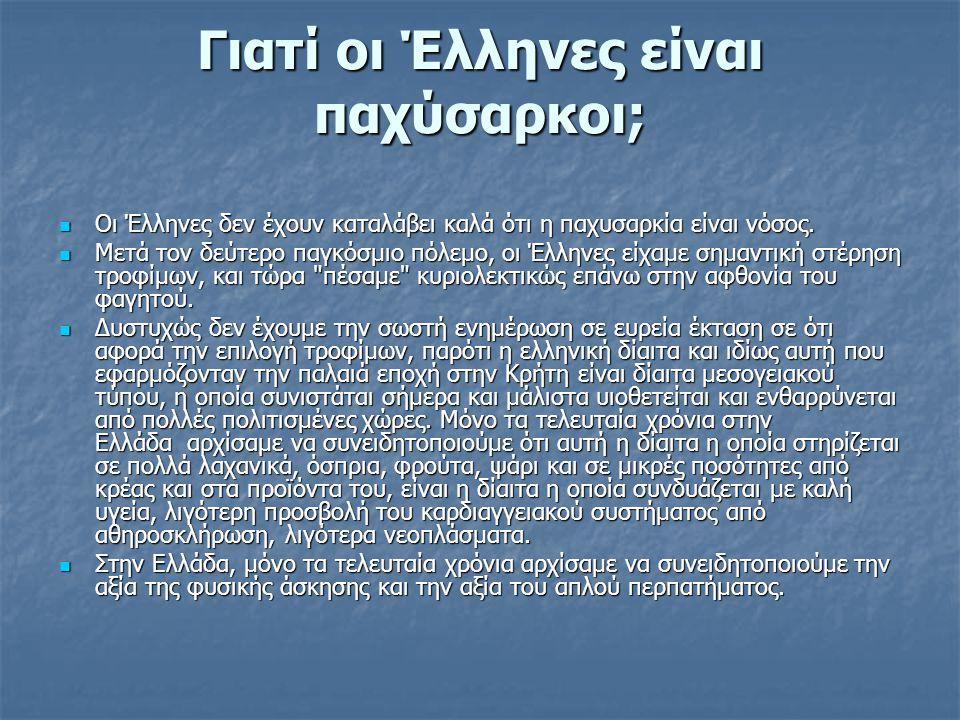 Γιατί οι Έλληνες είναι παχύσαρκοι;