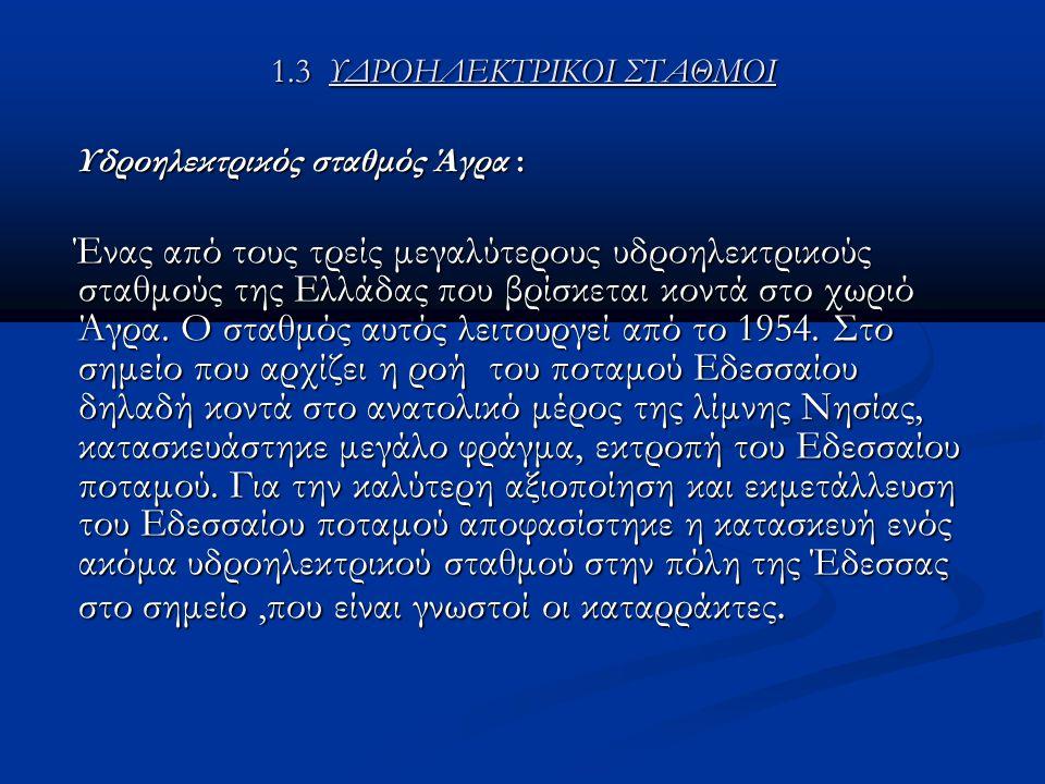 1.3 ΥΔΡΟΗΛΕΚΤΡΙΚΟΙ ΣΤΑΘΜΟΙ